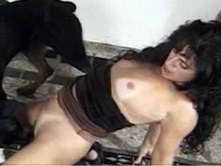 Thin masked brunette tries to fuck huge